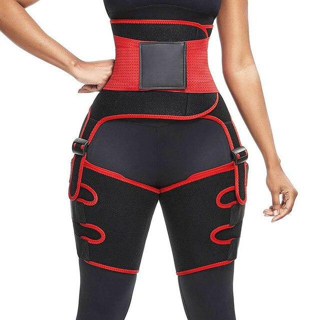 Genuine Yinuo Female Three-in-one Hip Belt Burst Sweat SBR Belt Sports Bodybuilding Adjustable One-piece Waist Belt Leg Belt 2