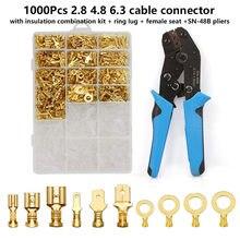 1000 adet sıkma terminalleri 2.8 4.8 6.3 kablo konnektörü yalıtım kombinasyonu kiti + halka pabucu + kadın koltuk + SN-48B pense