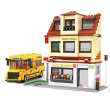 Model building kits compatible with Legoingly city School bus 3D blocks Educational model & building toys hobbies for children lepin 15005 2232pcs city grand emporium model building blocks kits brick toy compatible educational 10211 children day s diygift