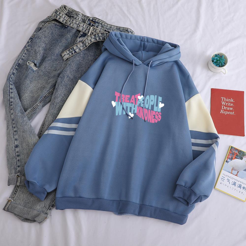 TPWK Treat People with Kindness Patchwork Hoodies Women Hip Hop Sweatshirts Harajuku Thick Oversized Warm Fleece Hoodies