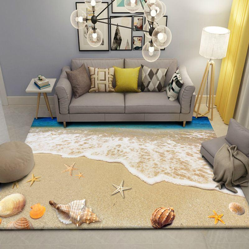 Beach Scenery Carpet Children's Room Wall to Wall Bed Blanket Style Living Room cha ji tan Bedroom Tatami Floor Mat - 3