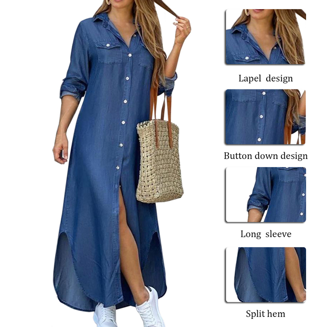 Maxi Beach Dress Elegant Women Button Long Shirt Dress Summer Split Print Lapel Neck Party Dress Long Sleeve Checked Plaid Robe 5