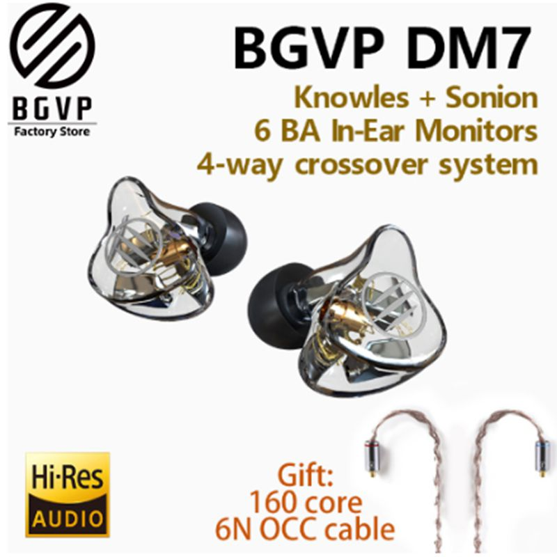 BGVP DM7 6BA HiFi Monitors Earphone Customize IEM Knowles Sonion Drivers In-Ear Music Sport Headset With Detachable MMCX Cable image