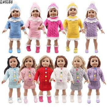 Ropa de muñeca suéter sombrero/abrigo de botón de punto + vestido delgado para 18 pulgadas americano y 43Cm nacido muñeca generación bebé niña juguete de Navidad