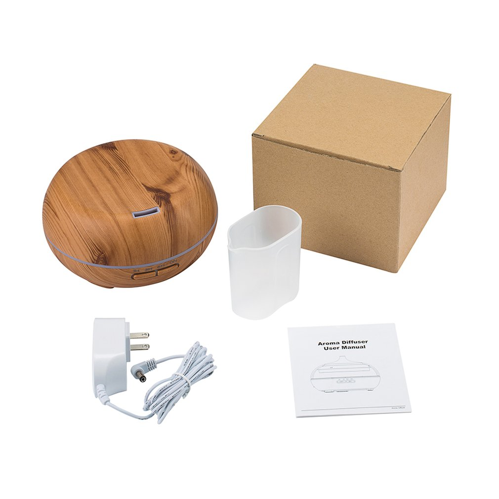 Round Ultrasonic Humidifier 300ml Mist Maker Aroma Diffuser With Colorful LED Light Wood Grain Aromatherapy Diffuser Machine