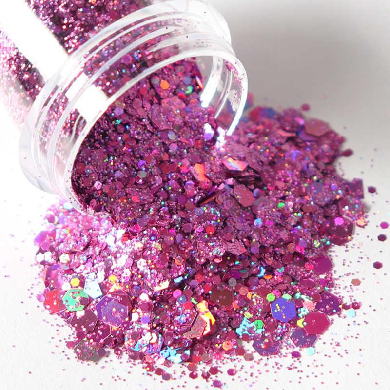 Glíter de sereia para unhas, flocos brilhantes holográficos, mistura a laser, hexágono, colorido, lantejoulas, esmalte, manicure, arte, decoração