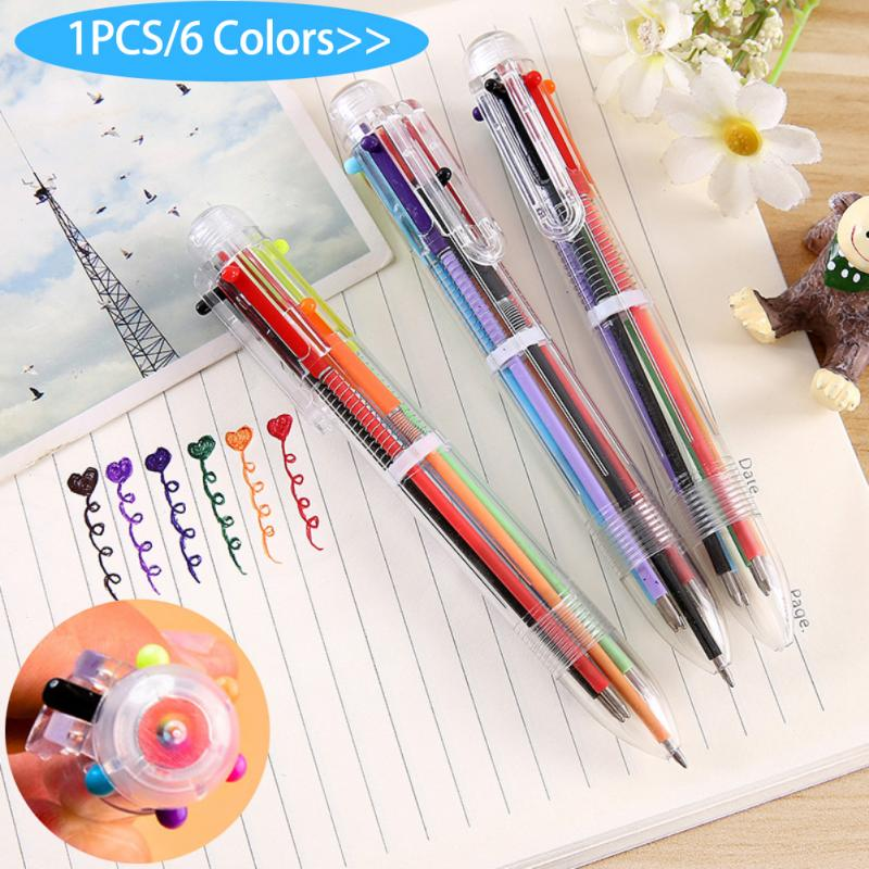 6 In 1 Colorful Pens Novelty Multicolor Ballpoint Pen Multifunction Stationery School Supplies