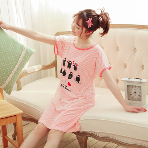 2019 Hongya Blue New Style Students Cute Loose-Fit Mid-length Cartoon Stripes Home Nightgown