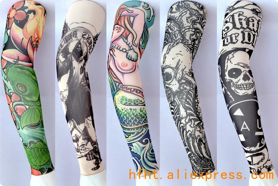 Mermaid Tattoo Sleeve (Seamed), Koi Skull Sunscreen Printed High Elasticity Arm Warmers HT105-109, 47CM Length