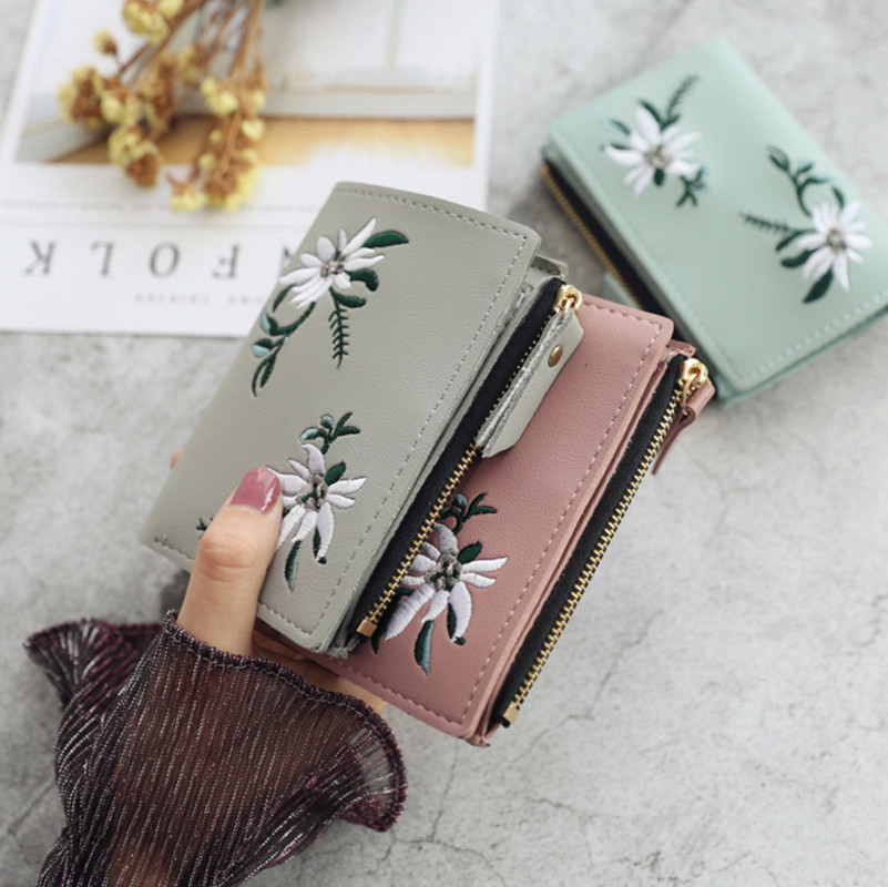Women Wallets Purses For Student Child Girl Money Coin Pocket Card Holder Embroidered Flower Female Small  Wallets