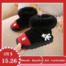Winter Toddler Baby Girl Cartoon Snow Boot Child Fashion Genuine Leather Black Warm Fur Flat Kid Shoe kid warm shoes