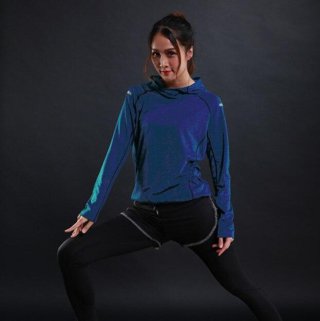 Formação de Mangas Outono Fina Mulheres Correndo Camisetas Gym Fitness Compridas Camisolas Quick Dry Respirável Capuz Roupas Esportivas Yoga