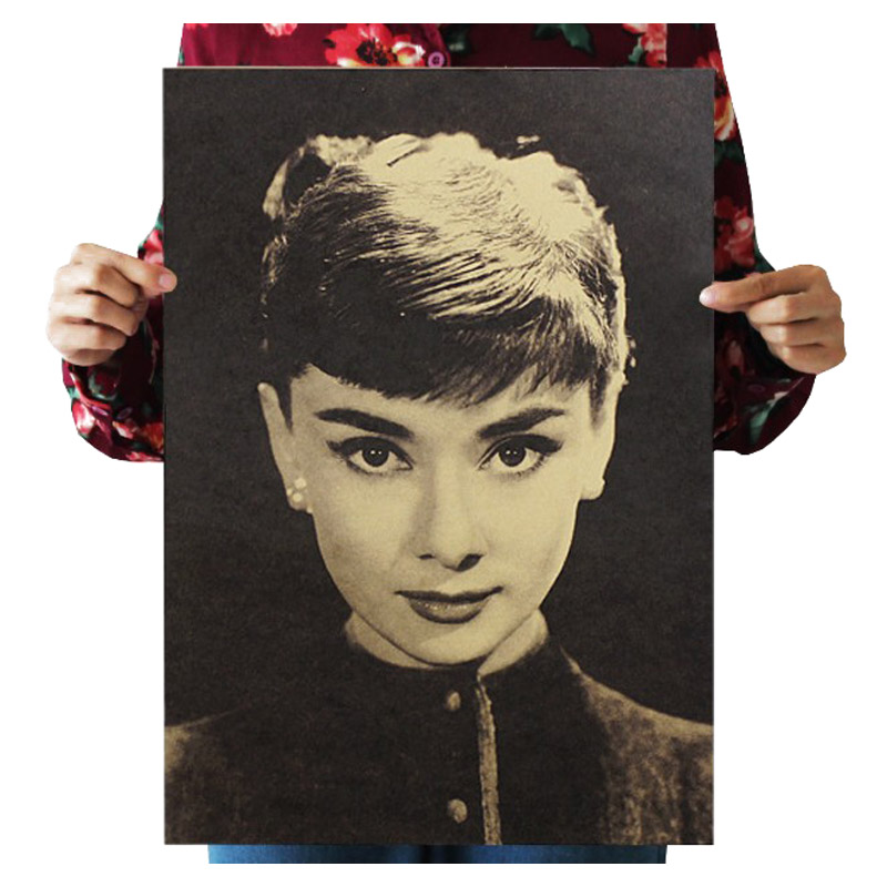 Audrey Hepburn Vintage Kraft Paper Classic Movie Poster School Wall Garage Decoration  Art  Retro Prints