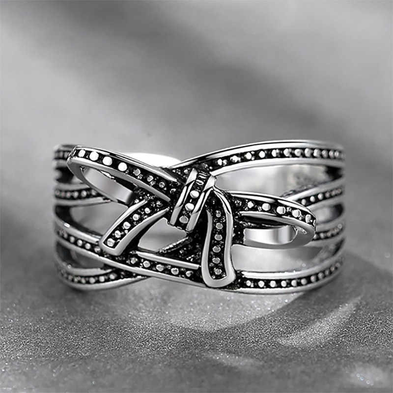 Cellacity קשת טבעת עבור נשים פתיחת מתכוונן תכשיטי תאילנדי כסף 925 אופי אישי בציר סגנון מתנה המפלגה סיטונאי