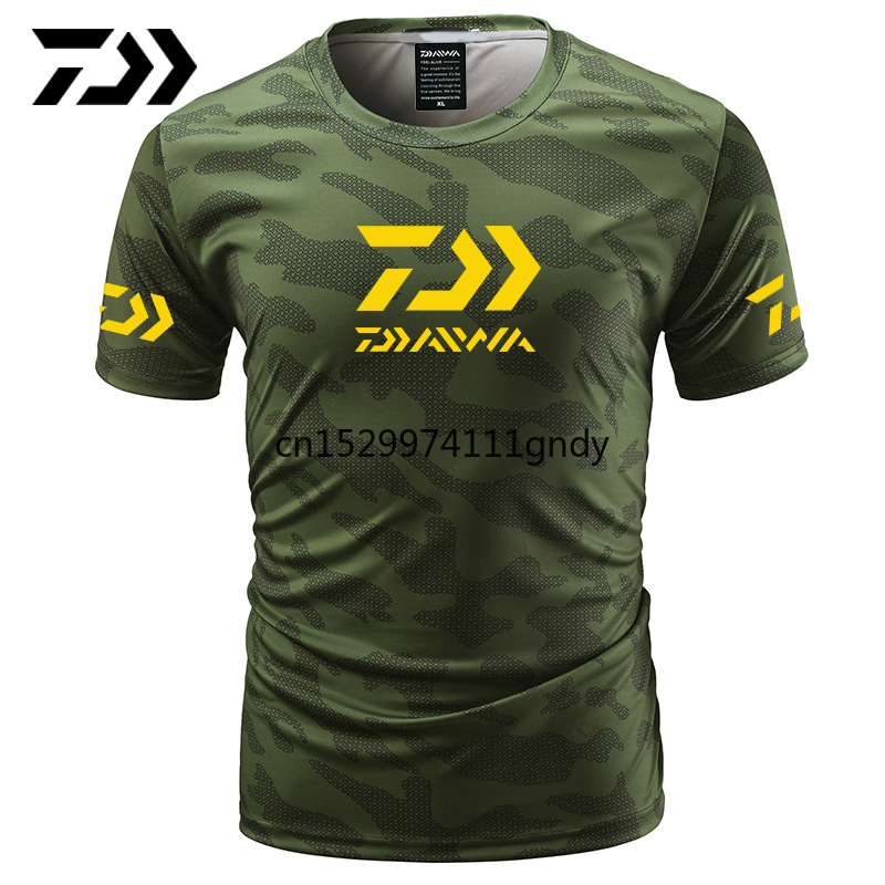 2020 Daiwa Clothing For Fishing Camouflage Outdoor Fishing   Letter Short Sleeve Top Sport Quality Fishing Tee