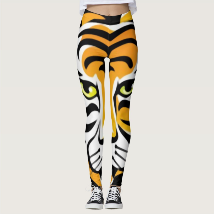 Tiger Pattern Digital Printing Sportswear Outdoor Elastic Force Leggings Polyester Breathable Skinny Ladies Leggings