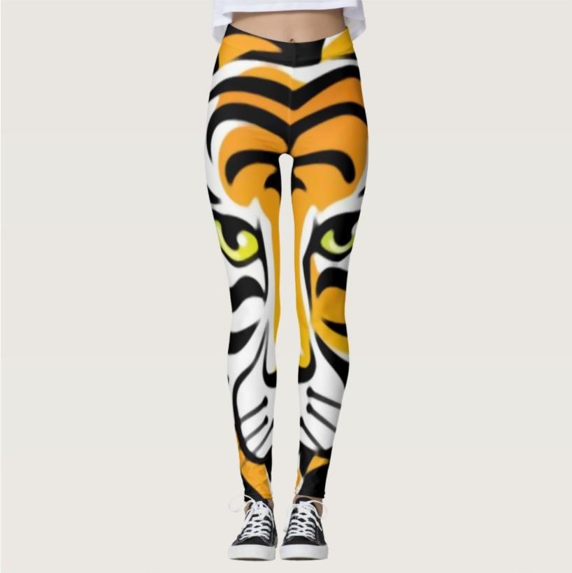 Tiger Pattern Digital Printing Sportswear Outdoor Elastic Force Leggings Polyester Breathable Skinny Ladies Leggings