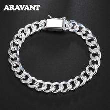 925 Silver 10MM Sideways Bracelet Wholesale Fashion Men Jewelry Silver Men Bracelets
