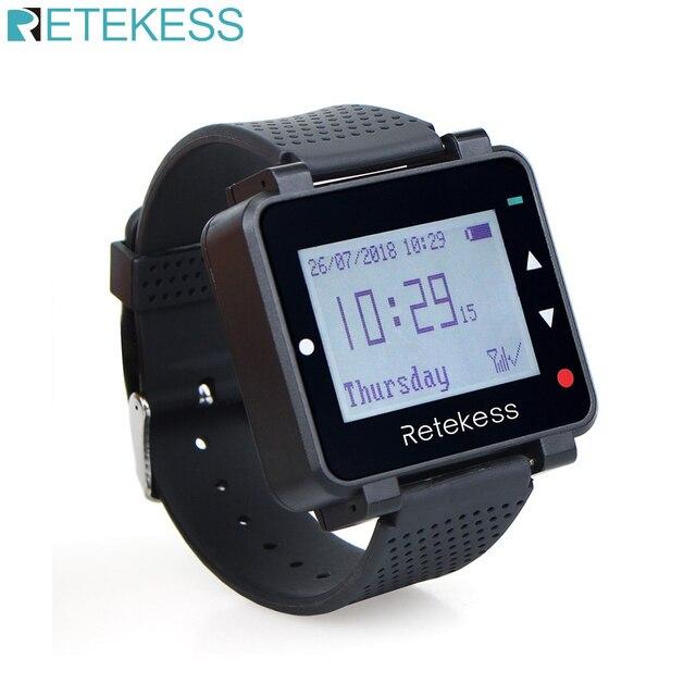 Retekess t128 relógio receptor pager sem fio 433.92mhz para garçom sistema de chamada restaurante equipamentos escritório café