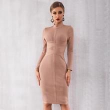 Kış sonbahar ünlü akşam parti Bodycon bandaj elbise kadınlar uzun kollu o boyun zarif seksi gece elbise kadın Vestidos