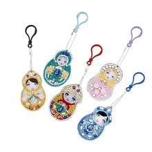 Set Of 5 Diamond Painting Keychain, 5D Making Diy Full Drill Special Shape Diamond Paintingy Doll Keychain Key Ring Phone Charm(China)