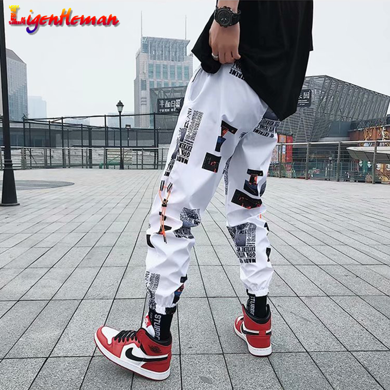 Men Casual Fitness Pants Couples Harem Pants Ankle Length Trousers Men Hip Hop Pants Men Loose Joggers Print Streetwear