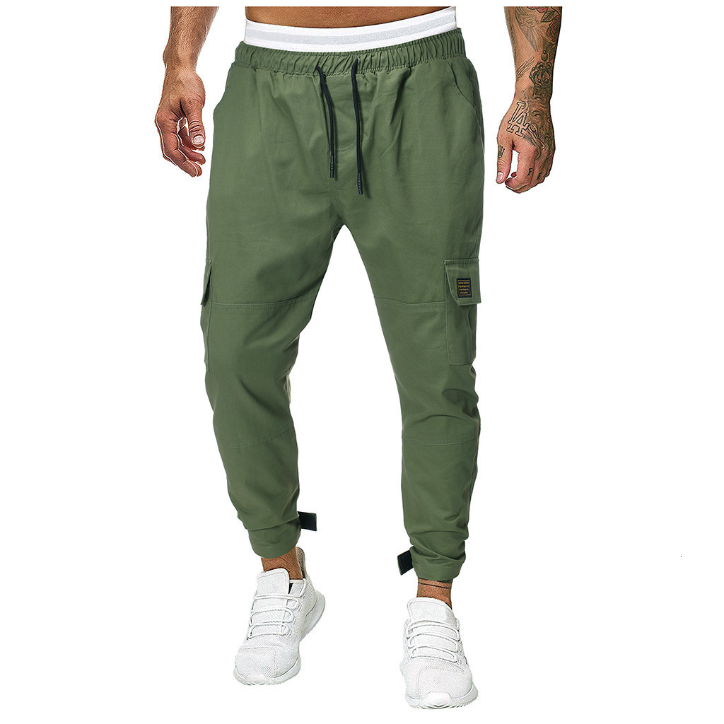 Men Joggers Sweatpants Men's JoggerTrouser Men Splicing Pure Color Overalls Casual Pocket Sport Work Casual Trouser Pants M-3XL
