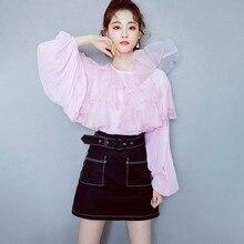 Blusas mujer de moda 2020 Summer Sweet Pink Blouse Women Cute Ruffles Long Sleeve Shirts Ladies Tops haut femme