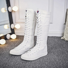 CXJYWMJL Women High Boots White Platform Knee high boots Black Knee High Boots high Lace Up boots Denim Thigh High Boots 6857 cheap Canvas Mid-Calf zipper Solid Adult Flat with Basic Round Toe Spring Autumn Fabric Rubber Flat (≤1cm) 0-3cm Fits true to size take your normal size