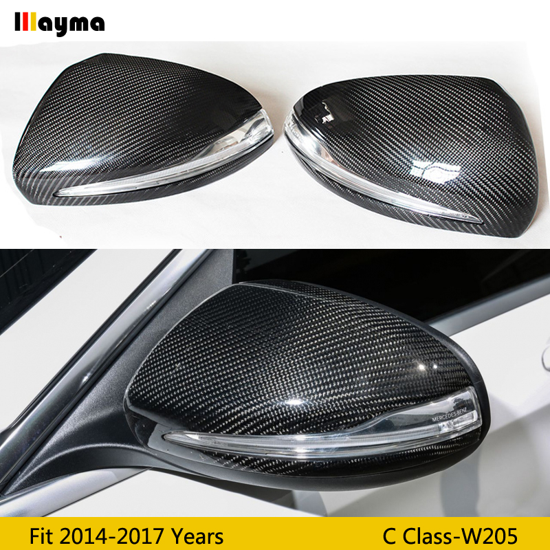 <font><b>W205</b></font> Carbon Fiber replace Mirror cover For Benz C class C180 <font><b>C200</b></font> C250 C300 2014-2017 year C63 <font><b>AMG</b></font> Style LHD RHD rear mirror cap image