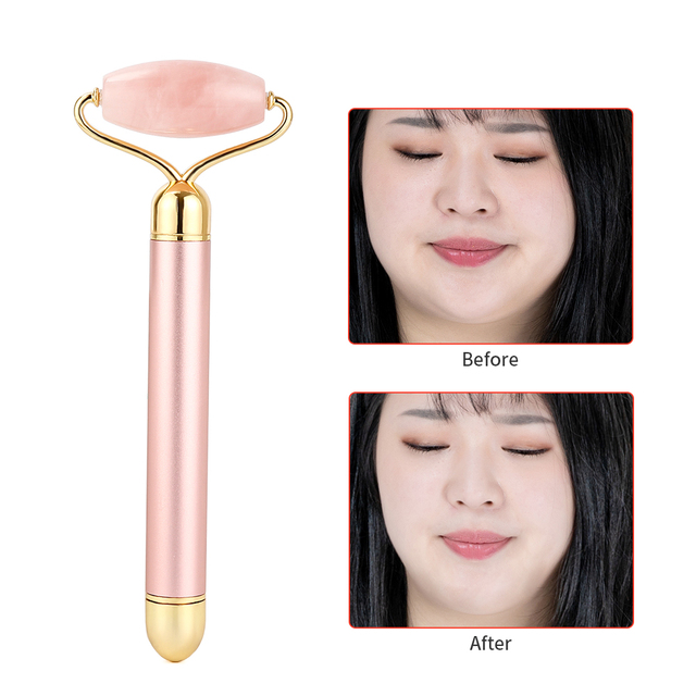 Electric Rose Quartz Roller Face Slimming Lifting Massager Natural Jade Stone Facial Vibration Roller Skin Beauty Care Tool 6