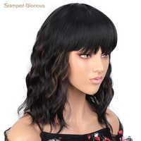Gestempelt Glorious Schwarz Gemischt Braun Kurze Wellenförmige Synthetische Haar mit Pony Bob Curly Schulter Länge Perücke Für African American