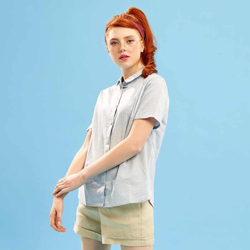 Metersbonwe marka gömlek kadın yeni yaz kısa kollu bluz kaliteli pamuk bluzlar katı renk Tops