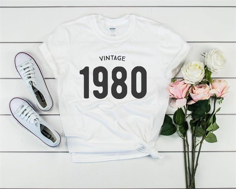 H8d88bb8e699b472a86c53057bc0b30e8B - Vintage 1980 40th Birthday Party Shirt Funny Graphic Cotton Women Tshirt Short Sleeve Tees Plus Size O Neck Female Gift Clothing