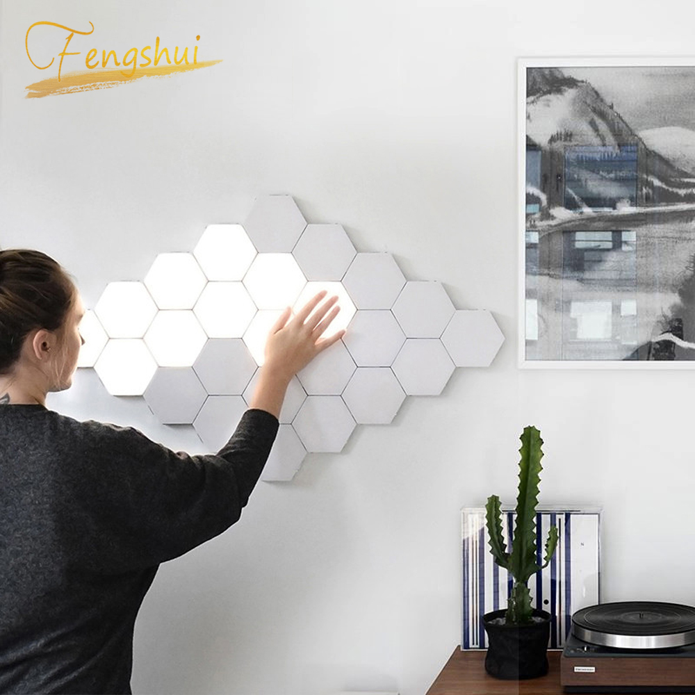 현대 LED 야간 조명 양자 램프 모듈 형 터치 라이트 터치 민감한 조명 LED 야간 조명 자기 DIY 실내 장식