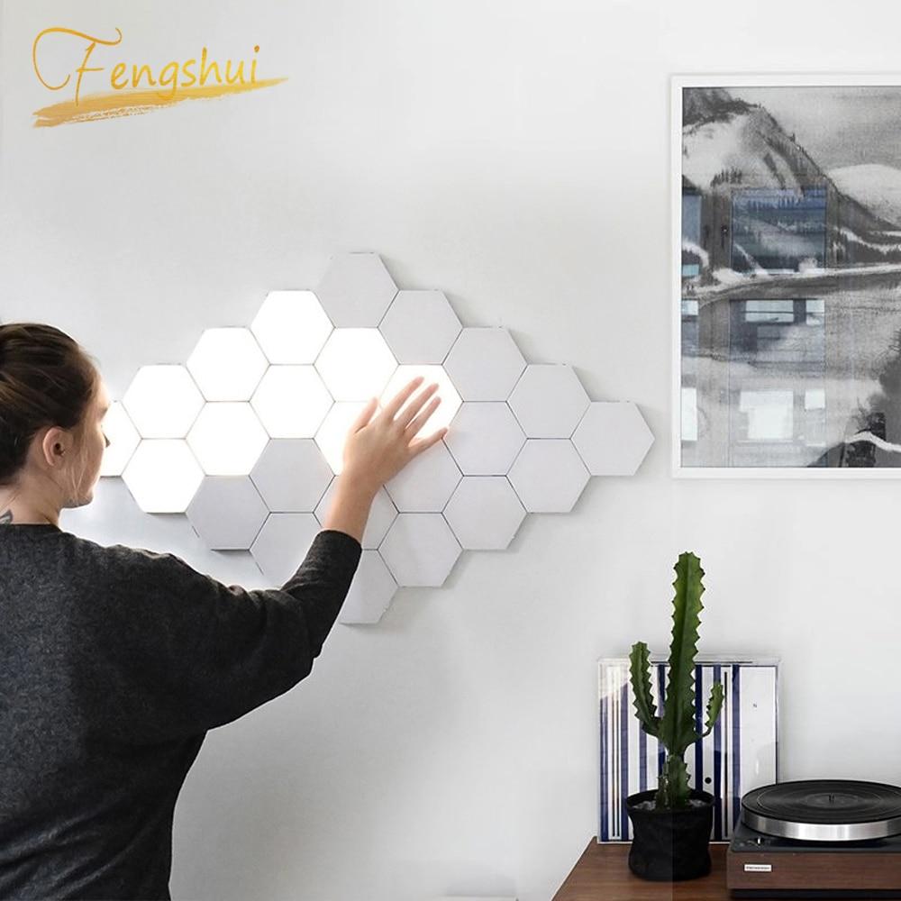 Luces de noche modernas LED lámpara cuántica Modular luz táctil iluminación sensible al tacto LED luz de noche magnética DIY decoración interior