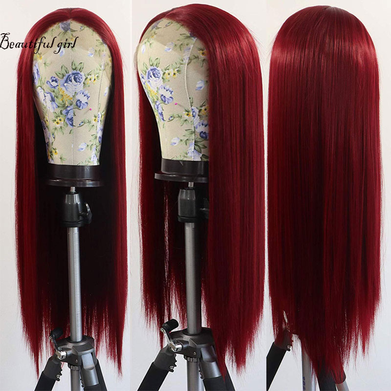 Middle-Parting Wig Wine Heat-Resistant-Fiber Natural-Hairline Burgundy Front Synthetic title=