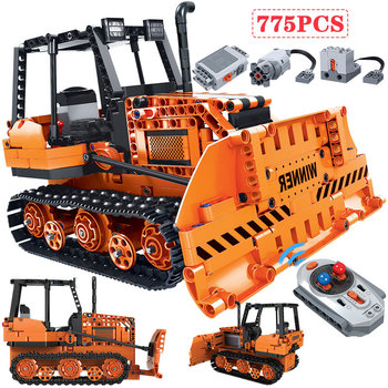 775pcs Remote Control Engineering Truck Building Blocks City Technic Electric RC Car Bulldozer Bricks Toy for Boy Gift