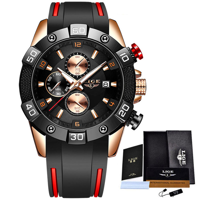 LIGE 2020 New Fashion Men Watches with Silicone Strap Top Brand Luxury Sport Chronograph Male Quartz Watch Men Relogio Masculino