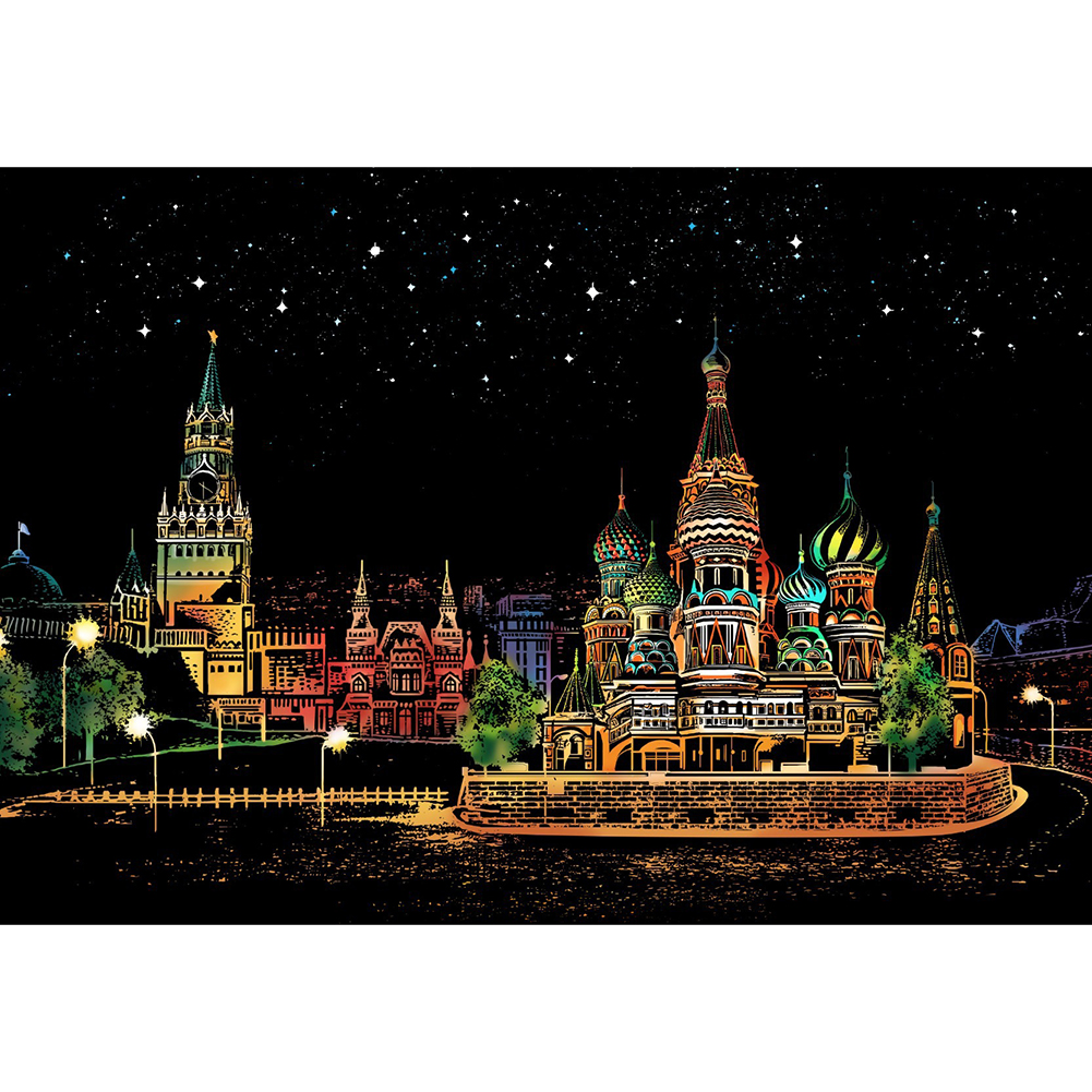 Red Square DIY Scratch City Night View Scraping Painting Greeting Card Art  DIY Famous Building Painted Kids Adult DIY Toys