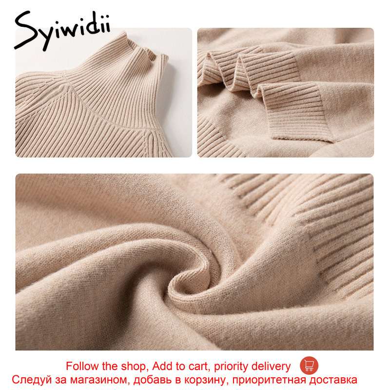 Sweater Women Turtleneck Pullovers Solid Stretch Striped Korean Top Knit Plus Size Harajuku Fall 2020 Winter Clothes Beige Khaki 5