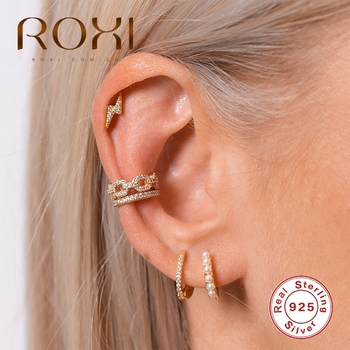 ROXI Twisted Double-layered Zircon Female Tremella Buckle Ear Cuff Clip without Piercings Earrings for Women Silver 925 Jewelry