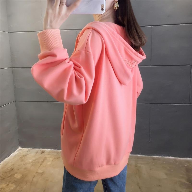 M-2xl Cotton Letter Embroidery Long Sleeve Hoodies Sweatshirts 2019 Autumn Loose Preppy Style Casual Sweatshirt SUITLIONBUTF 52