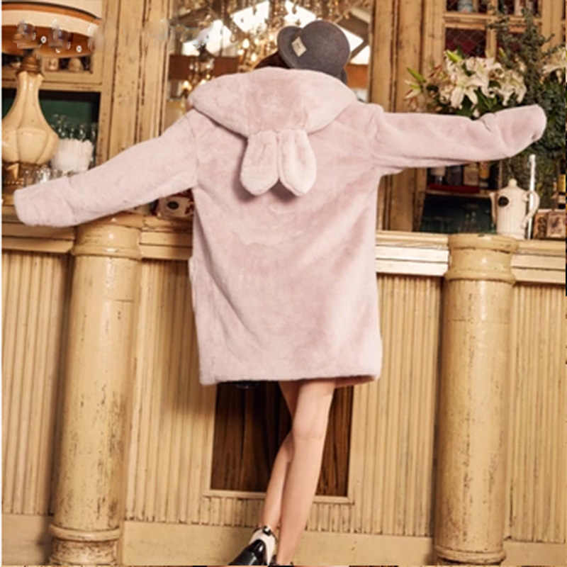 2019 Женское зимнее пальто из искусственного меха, куртка из искусственного меха кролика, длинное, серое, розовое, милое пальто с капюшоном для девочек, Sobretudo Feminino Casacos