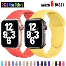 Pulseira de silicone macio para apple watch 6 séries se 5 4 3 2 1 44mm 40mm pulseira de borracha para iwatch 4/5 42mm 38mm pulseira