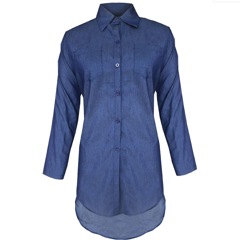 Vintacy Denim Shirt Women Jeans Shirts Womens Tops And Blouses 2019 Plus Size Blouses Long Sleeve Top Autumn Blue Fashion Female in Blouses amp Shirts from Women 39 s Clothing