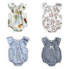 Sanlutoz verão algodão bebê menina bodysuit impressão roupas de bebê recém-nascido princesa do bebê meninas roupas bonito