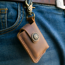 Handmade Genuine Leather Lighter Pouch Holder Case With Keychain Portable Genera