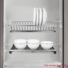 2-Tier Dish Rack Stainless Steel Dish Rack Folding Dish Drying Dryer Rack Plate Bowl Storage Kitchen Organizer for Cabinet Rack