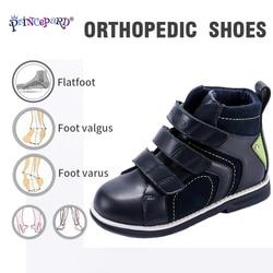 Nuevos zapatos ortopédicos para niños Princepard de otoño, zapatos ortopédicos grises de cuero genuino de la Marina para niños, zapatos ortopédicos para niños 21-37T